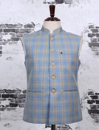 Blue color checks waistcoat