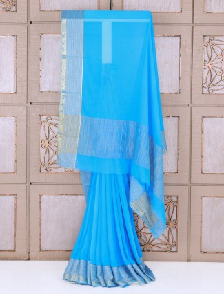 Blue color chiffon festive saree