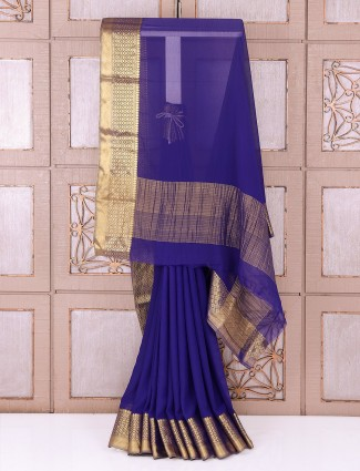 Blue color chiffon saree