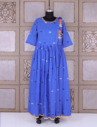 Blue color cotton anarkali suit