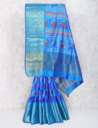 Blue color cotton silk festive saree