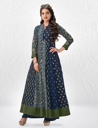 Blue color cotton silk printed palazzo suit