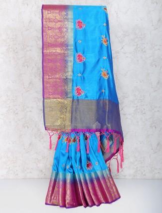 Blue color cotton silk saree