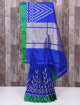 Blue color designer silk fabric saree