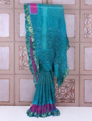 Blue color festive bandhej saree
