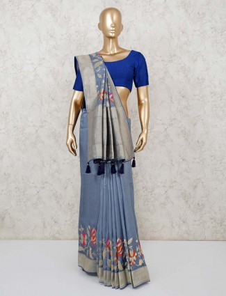 Blue color festive muga silk saree