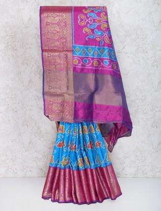 Blue color festive wear cotton silk saree