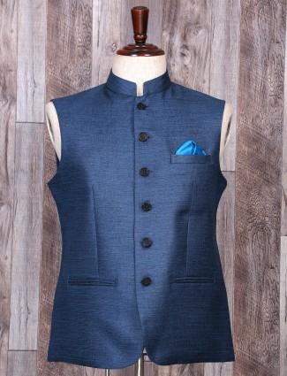 Blue color festive wear jute waistcoat