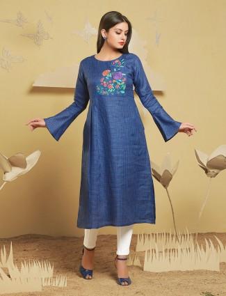 Blue color festive wear simple kurti
