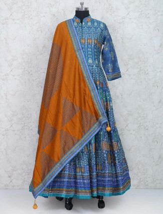 Blue color floor length cotton silk fabric anarkali suit