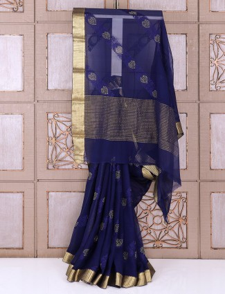 Blue color georgette party fabric saree