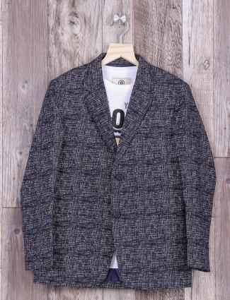 Blue color jute fabric blazer