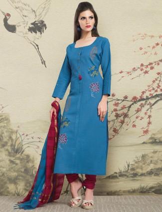 Blue color jute fabric salwar suit