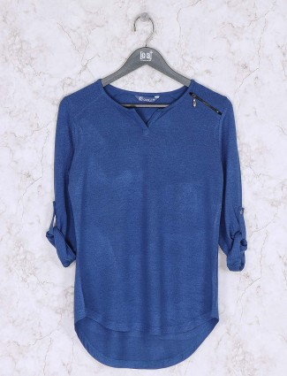 Blue color knitted casual wear top