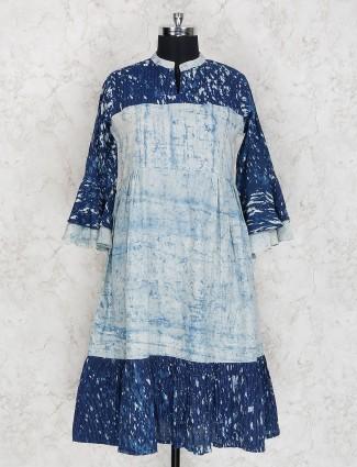 Blue color kurti in cotton fabric