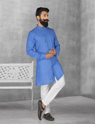 Blue color linen fabric kurta suit
