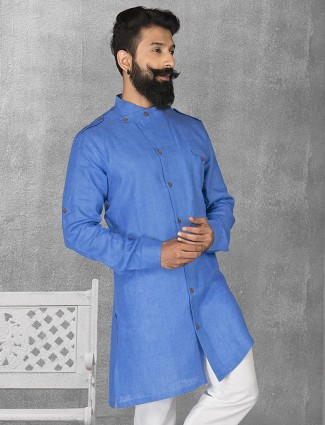Blue color linen fabric short pathani