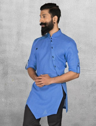 Blue color linen short pathani