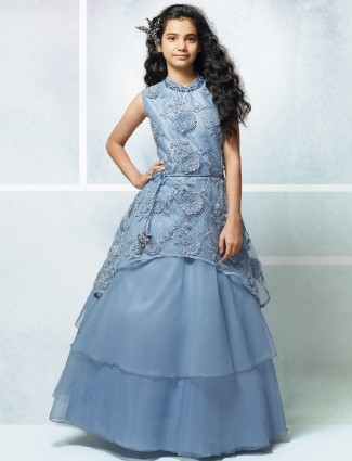 Blue color net fabric designer girls gown