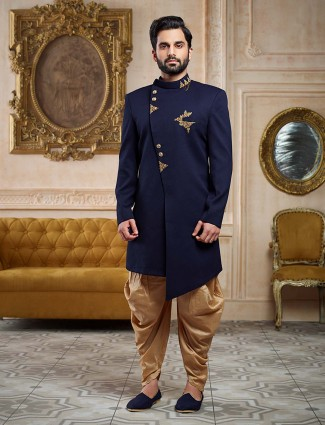 Blue color party wear indo western for mens