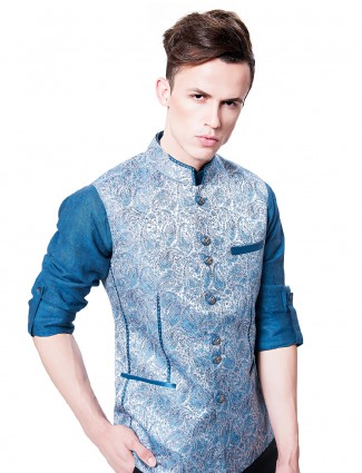 Blue color party wear waistcoat