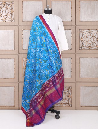 Blue color patola silk dupatta