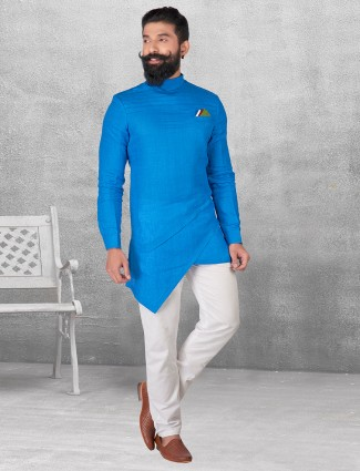 Blue color plain kurta suit