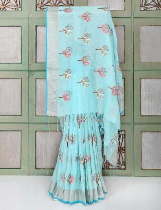 Blue color pretty linen fabric saree
