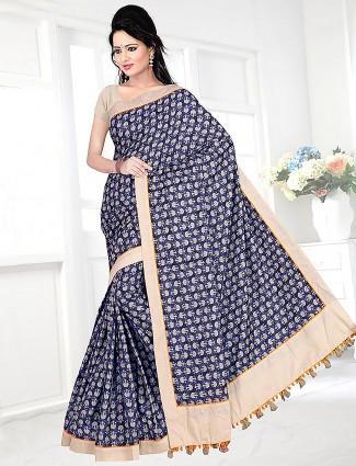 Blue color printed cotton saree