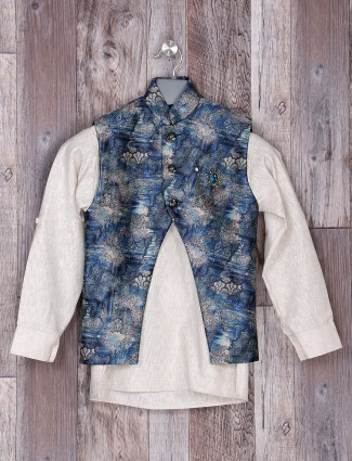 Blue color printed pattern partywear waistcoat