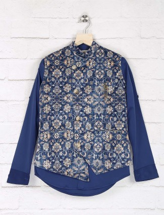 Blue color printed pattern terry rayon shirt