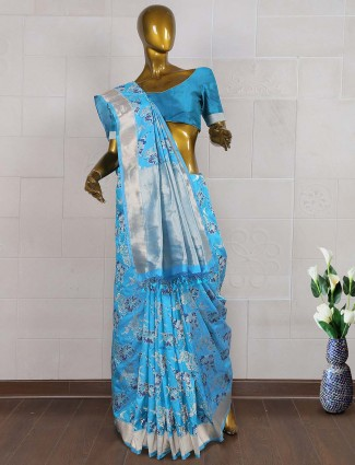 Blue color pure banarasi saree
