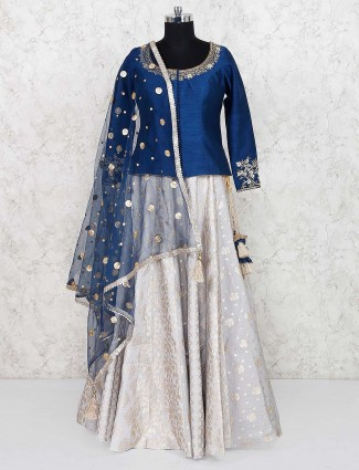 Blue color raw silk lehenga choli