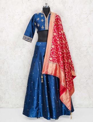 Blue color raw silk party wear lehenga choli