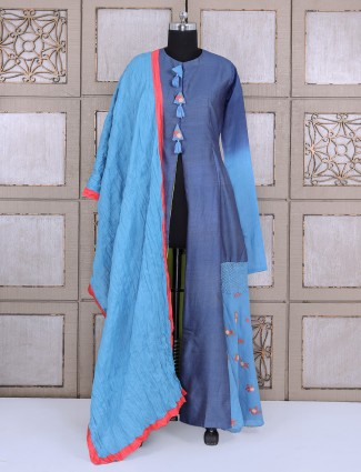 Blue color shaded salwar suit