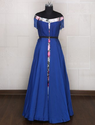 Blue color silk designer gown for party