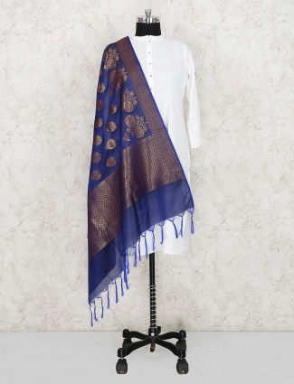 Blue color silk dupatta for women