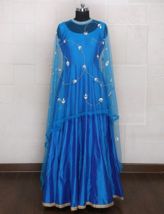 Blue color silk fabric anarkali suit for wedding