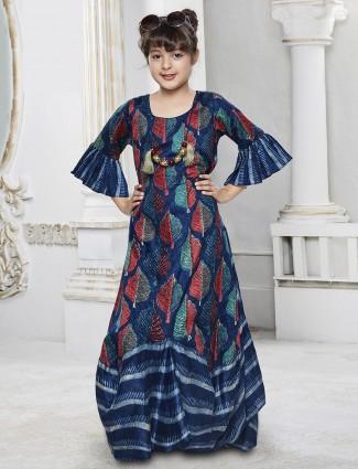 Blue color silk fabric festive wear gown