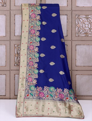 Blue color silk fabric saree for party