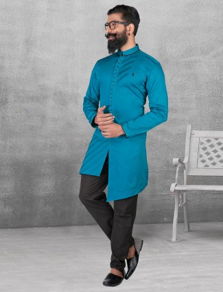 Blue color silk kurta suit for festive fuction
