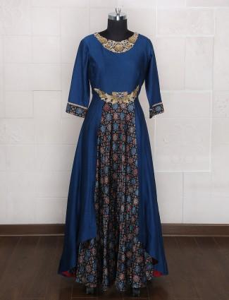 Blue color silk one piece party wear suit