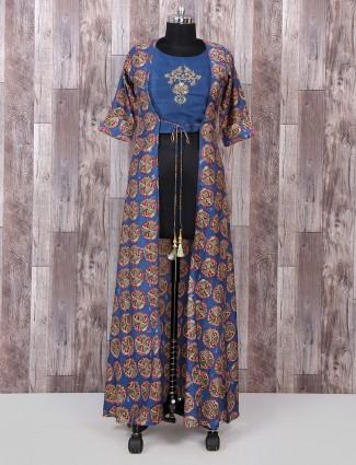 Blue color silk simple palazzo suit