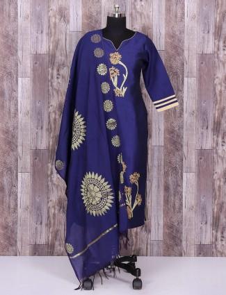 Blue color silk simple punjabi suit