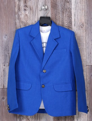 Blue color terry rayon blazer