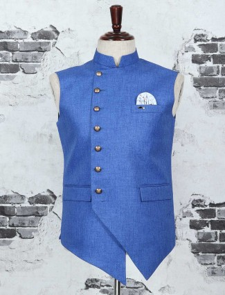 Blue color terry rayon waistcoat