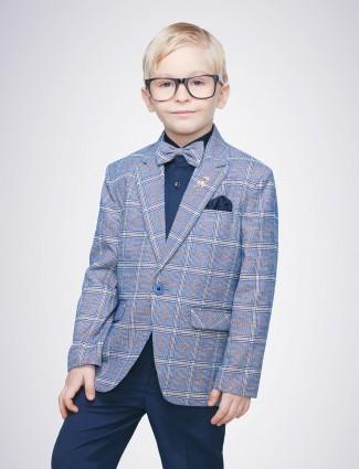 Blue color tweed pattern partywear tuxedo suit