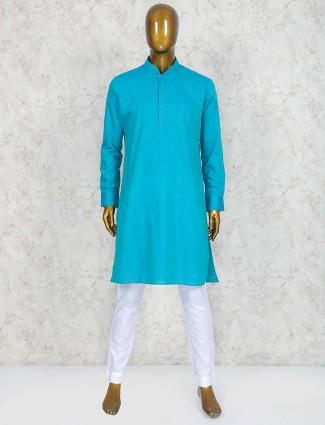 Blue colored cotton fabric kurta suit