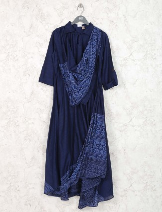 Blue colored cotton festive wear kurti