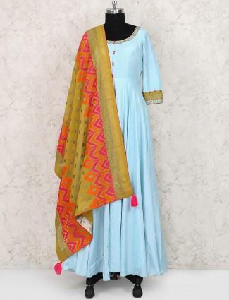 Blue colored cotton silk floor length anarkali suit